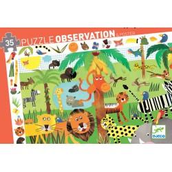 DJECO 07590 Układanka - Puzzle Obserwacja 35 i Plakat - DŻUNGLA