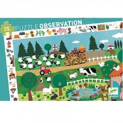DJECO 07591 Układanka - Puzzle Obserwacja 35 i Plakat - FARMA
