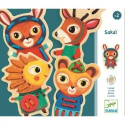 DJECO 01694 - Drewniane Zwierzaki do Przewlekania - SAKAI