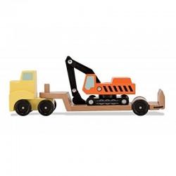 MELISSA & DOUG 14577 - Drewniane Pojazdy - LAWETA Z KOPARKĄ