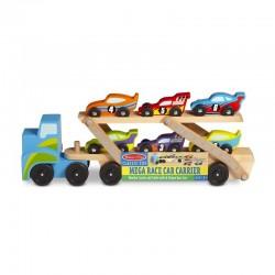 MELISSA & DOUG 12759 - Drewniane Pojazdy - WIELKA LAWETA Z WYŚCIGÓWKAMI