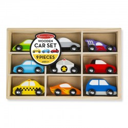 MELISSA & DOUG 13178 - Drewniane Pojazdy - Pudełko z Samochodami - ZESTAW SAMOCHODÓW OSOBOWYCH