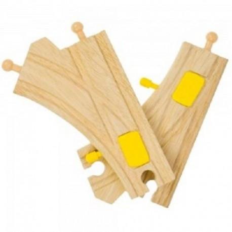 BIGJIGS TOYS BJT219 - Zestaw Torów Drewnianych - ROZJAZDY ZE ZWROTNICĄ MECHANICZNĄ