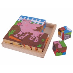 BIGJIGS TOYS BJ798 - Drewniane Klocki Puzzle - FARMA