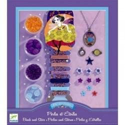 DJECO 09805 - Zestaw do Tworzenia Biżuterii - Koraliki do Nawlekania - PERŁY I GWIAZDKI