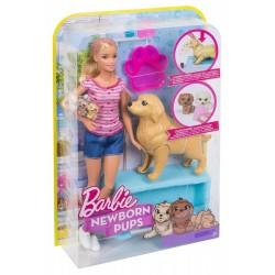 MATTEL FBN17 FDD43 - Zestaw Barbie Narodziny Piesków - BARBIE I PIESKI