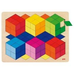 Goki - 57664 - Drewniane Puzzle Mozaika 86 - Sześciany