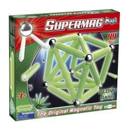 SUPERMAG MAXI Magnetyczne Klocki Konstrukcyjne ŚWIECĄCE W CIEMNOŚCI GLOW 44 el. 0117