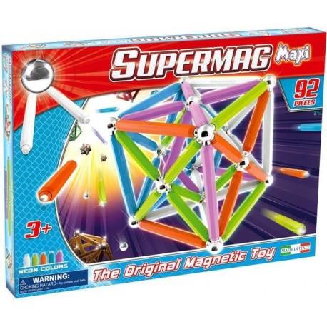 SUPERMAG MAXI Magnetyczne Klocki Konstrukcyjne NEON 92 el. 0100
