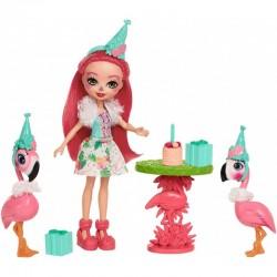 MATTEL FCC62 FCG79 ENCHANTIMALS - Zestaw Urodzinowe Party - FLAMINGOWE FIGLE