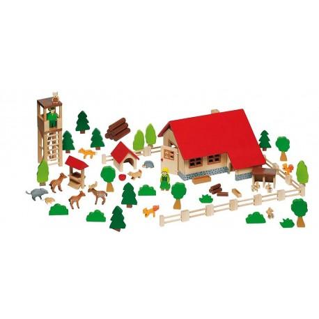 Goki - 51895 - Drewniana Leśniczówka z Figurkami