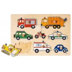 Goki - 57632 - Drewniane Puzzle z Uchwytami 8 - Pojazdy