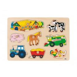 Goki - 57632 - Drewniane Puzzle z Uchwytami 7 - Farma