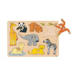 Goki - 57632 - Drewniane Puzzle z Uchwytami 7 - Zwierzątka z Zoo