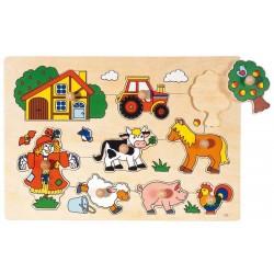 Goki - 57632 - Drewniane Puzzle z Uchwytami 8 - Farma - Wieś