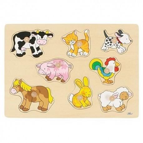 Goki - 57632 - Drewniane Puzzle z Uchwytami 7 - Zwierzęta Domowe