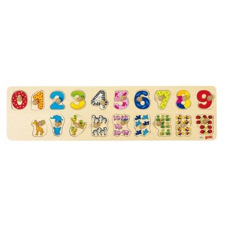 Goki - 57827 - Drewniane Puzzle z Uchwytami 19 - Cyfry