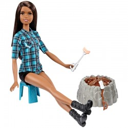 MATTEL FDB43 FDB45 - Zestaw Barbie na Biwaku - BRUNETKA