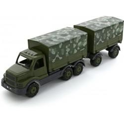 WADER - POLESIE 49209 - Pojazd Wojskowy - SAMOCHÓD WOJSKOWY Z PLANDEKĄ I PRZYCZEPĄ STALKER