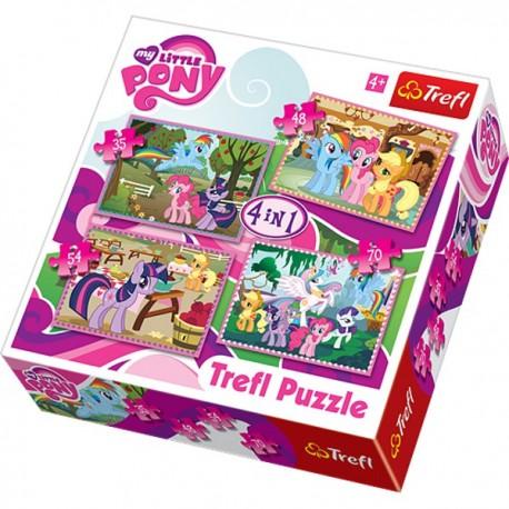 Trefl - 34153 - Puzzle 4 w 1 - My Little Pony