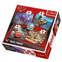 Trefl - 34107 - Puzzle 4 w 1 - Cars 2 - Auta 2