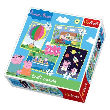 Trefl - 34131 - Puzzle 4 w 1 - Świnka Peppa