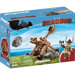 PLAYMOBIL 9245 Dragons - Jak Wytresować Smoka - PYSKACZ GBUR I KATAPULTA