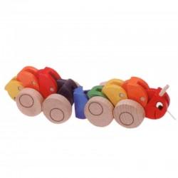 WOODYLANA 90135 - Drewniana Zabawka do Ciągnięcia - STONOGA