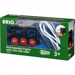 BRIO 33599 - Lokomotywa z Baterią i Mini USB - CZARNA LOKOMOTYWA