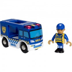 BRIO 33825 - Zestaw do Kolejki Drewnianej - VAN POLICYJNY