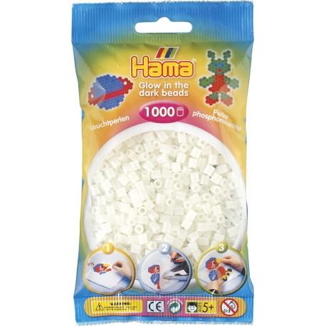 Hama - Midi - 20755 -Zielone Koraliki Świecące w ciemności - Zestaw Uzupełniający 1000 szt