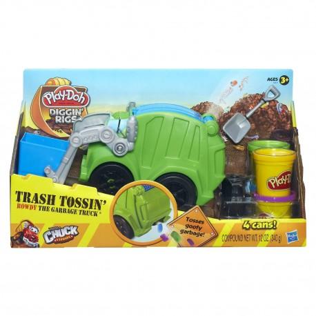 Ciastolina Play-Doh - A3672 - Diggin' Rigs - Wesołe Pojazdy Budowlane - Śmieciarka Rowdy