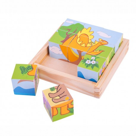 BigJigs Toys - BJ513 - Klocki Puzzle Drewniane 9 - Dinozaury
