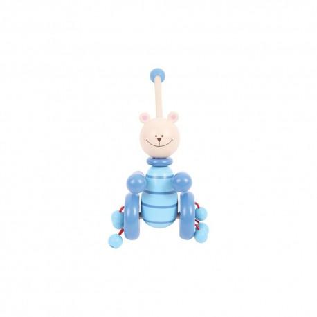 Bigjigs Toys - BB078 - Pchacz Drewniany - Niebieski Miś