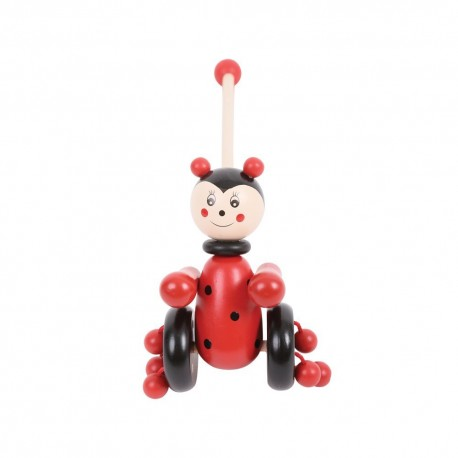 Bigjigs Toys - BB079 - Pchacz Drewniany - Biedroneczka