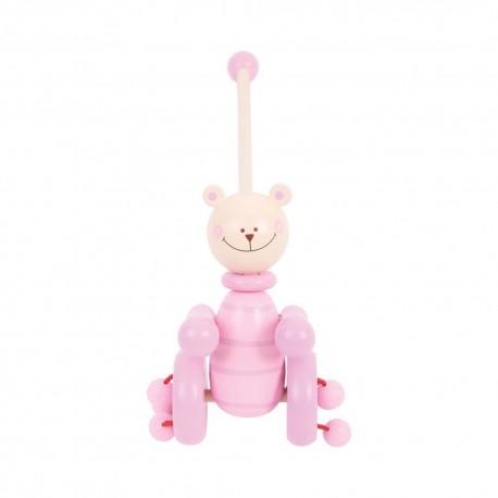 Bigjigs Toys - BB080 - Pchacz Drewniany - Różowy Miś