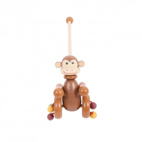 Bigjigs Toys - BB076 - Pchacz Drewniany - Małpka