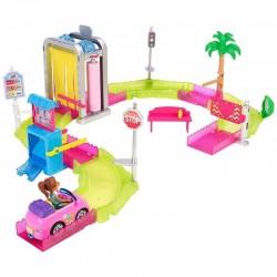 MATTEL FHV91 - Zestaw On the Go Lalka Mini Barbie - MYJNIA SAMOCHODOWA