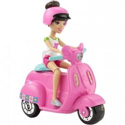 MATTEL FHV76 FHV80 - Zestaw On the Go Lalka Mini Barbie - SZATYNKA Z MOTOCYKLEM