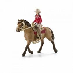 SCHLEICH 42112 - Figurki Zwierząt - Horse Club - KOWBOJKA Z KONIEM