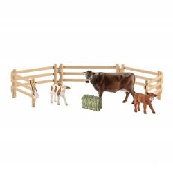 SCHLEICH 42392 - Farm World - Figurki Zwierząt - KROWA I DWA CIELAKI