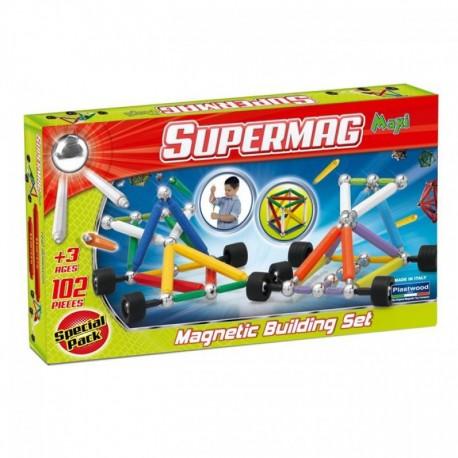 SUPERMAG MAXI Magnetyczne Klocki Konstrukcyjne Maxi Wheels 102 Elementy 0110