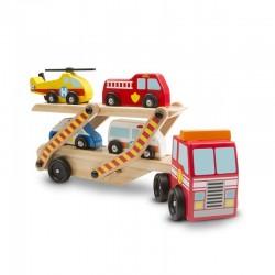 MELISSA & DOUG 14610 - Drewniane Samochody - LAWETA Z POJAZDAMI RATUNKOWYMI
