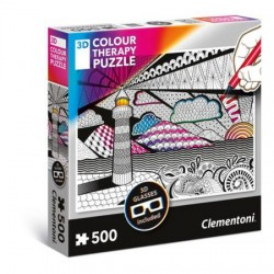 CLEMENTONI 35052 Puzzle 3D Terapia Kolorem Układaj i Koloruj LATARNIA - 500 el.