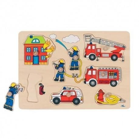 Goki - 57907 - Drewniane Puzzle z Uchwytami 7 - Straż Pożarna