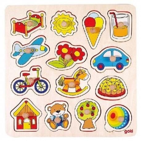 Goki - 57576 - Drewniane Puzzle z Uchwytami 14 - Przedmioty