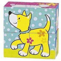 Goki - 57511 - Klocki Puzzle Drewniane 4 - Zwierzęta