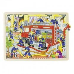 GOKI Drewniane Puzzle STRAŻ POŻARNA 57527