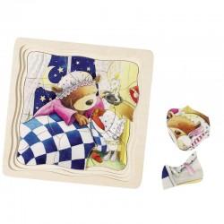 GOKI Drewniane Puzzle MISIE 57583