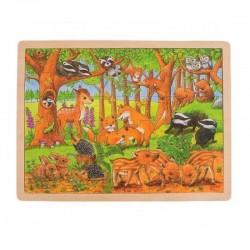 GOKI Drewniane Puzzle ZWIERZĄTKA W LESIE 57734